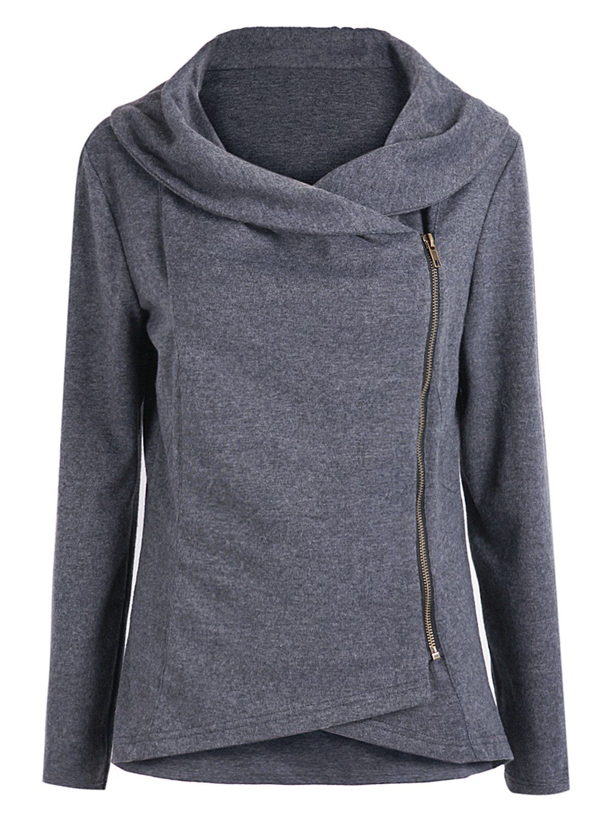 Grey At Dark Sleeve Long Zip Women's Asymmetric Outerwear Sheinside® E8RUOxqw
