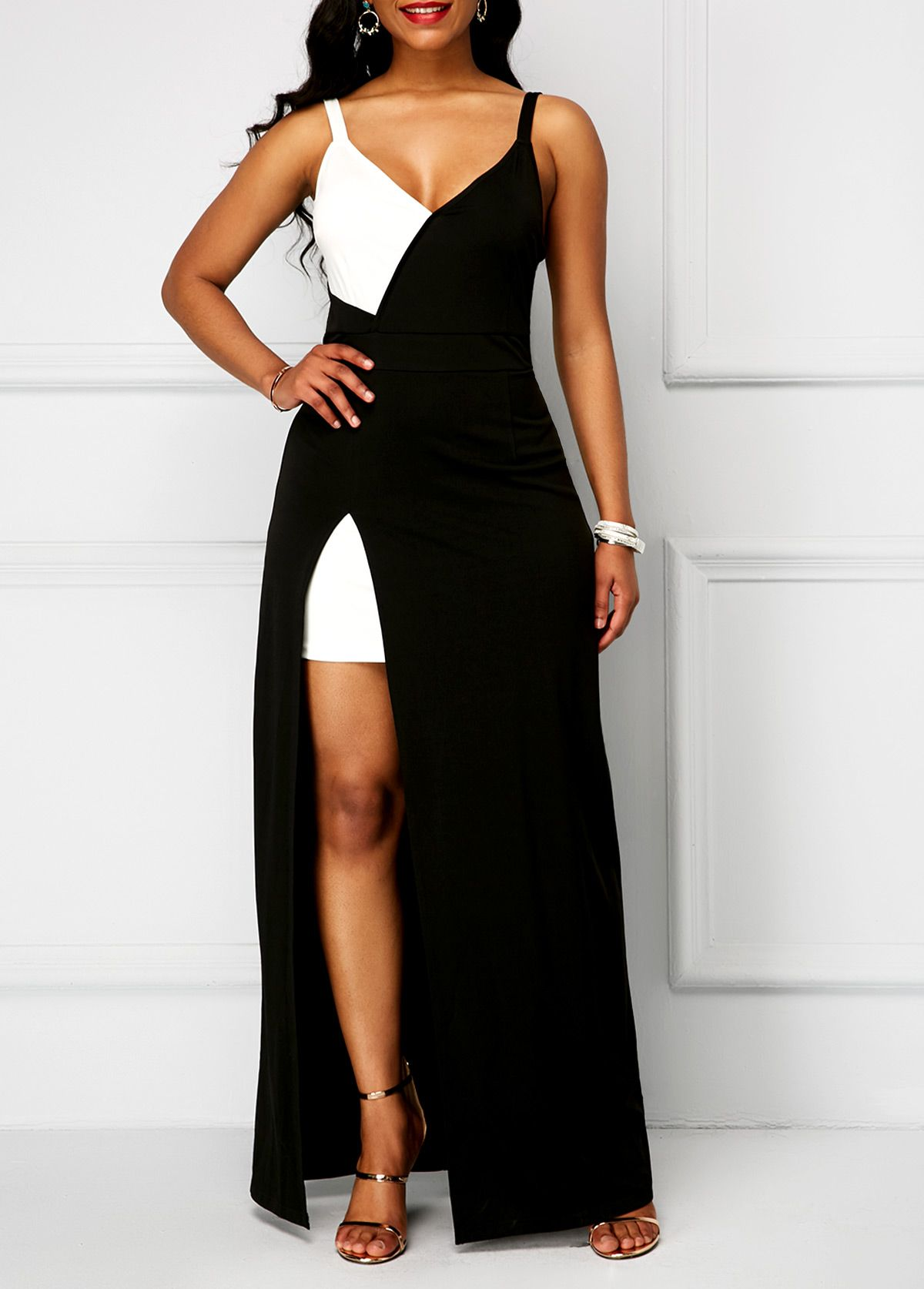 3eb1cb7266c Color Block Side Slit High Waist Dress