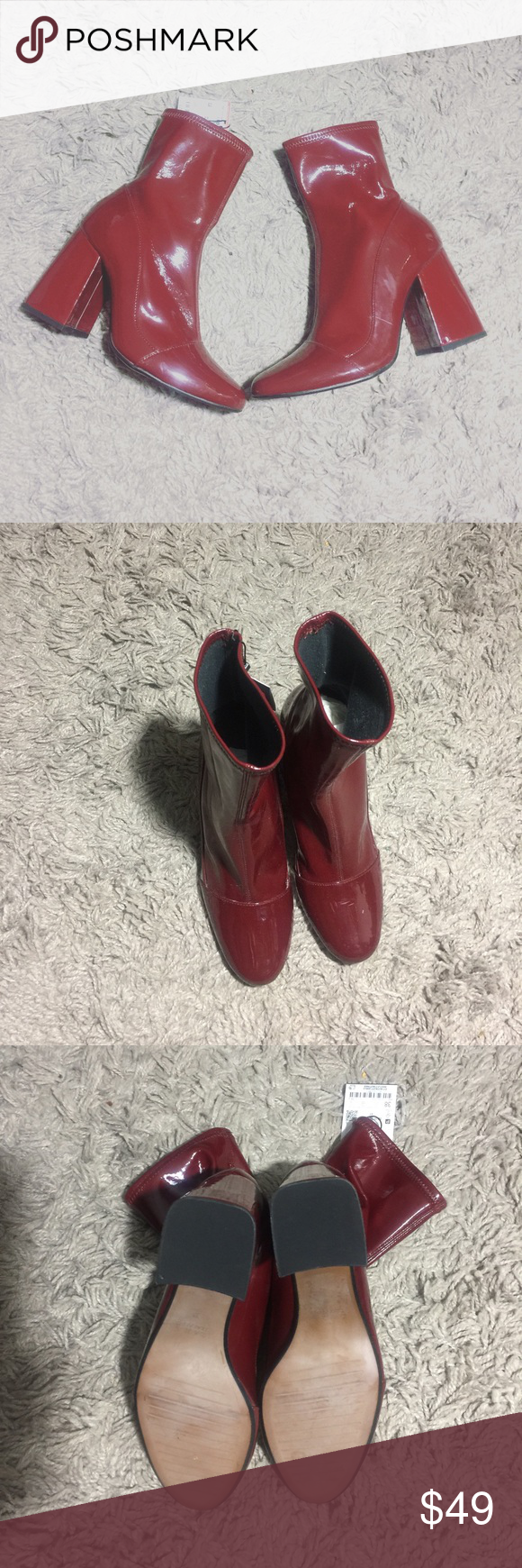 d80278057c4 Zara Burgundy Patent Leather Booties Patent Leather ankle booties never  worn w/ tags from Zara Zara Shoes Ankle Boots & Booties
