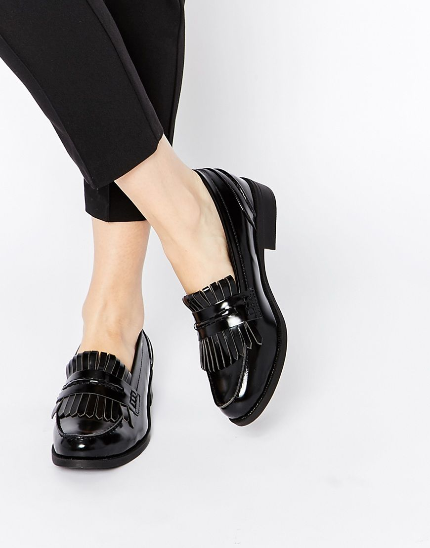 Buy Women Shoes / Glamorous Black Tassel Fringed Loafer Flat Shoes