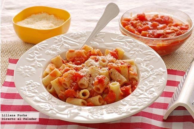Receta de rigatoni con salsa amatriciana