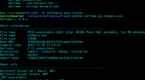PEframe is a open source tool to perform static analysis on