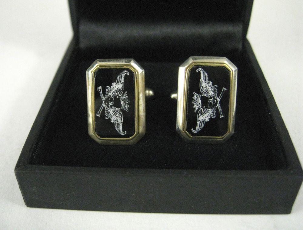 NEW Juicy Couture Cufflinks 925 Sterling Silver Black Onyx Skull Bones Cufflink  #JuicyCouture