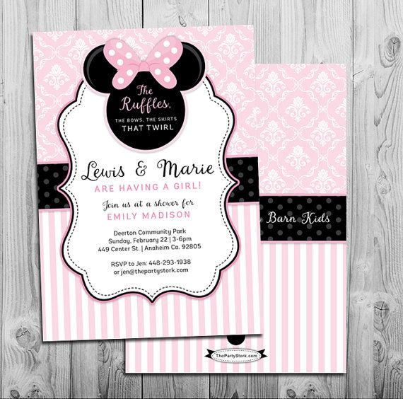 Minnie Mouse Baby Shower Invitation Printable Invite Pink Black