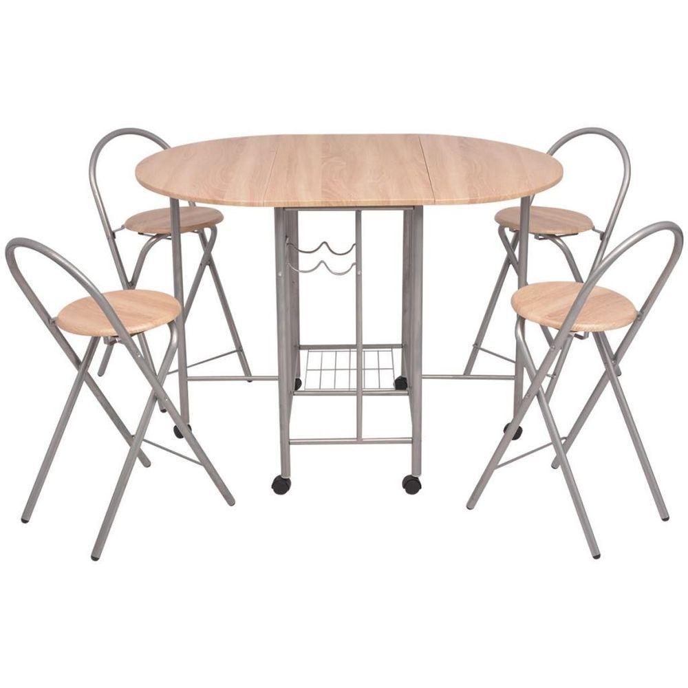 Breakfast Bar Table Set Kitchen Round Dining Room 5 Pcs