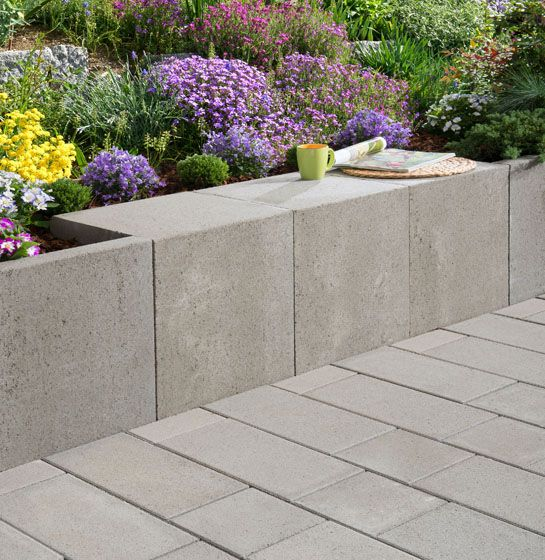 mauer u-steine in grau | bancs | pinterest | garten, Garten und bauen