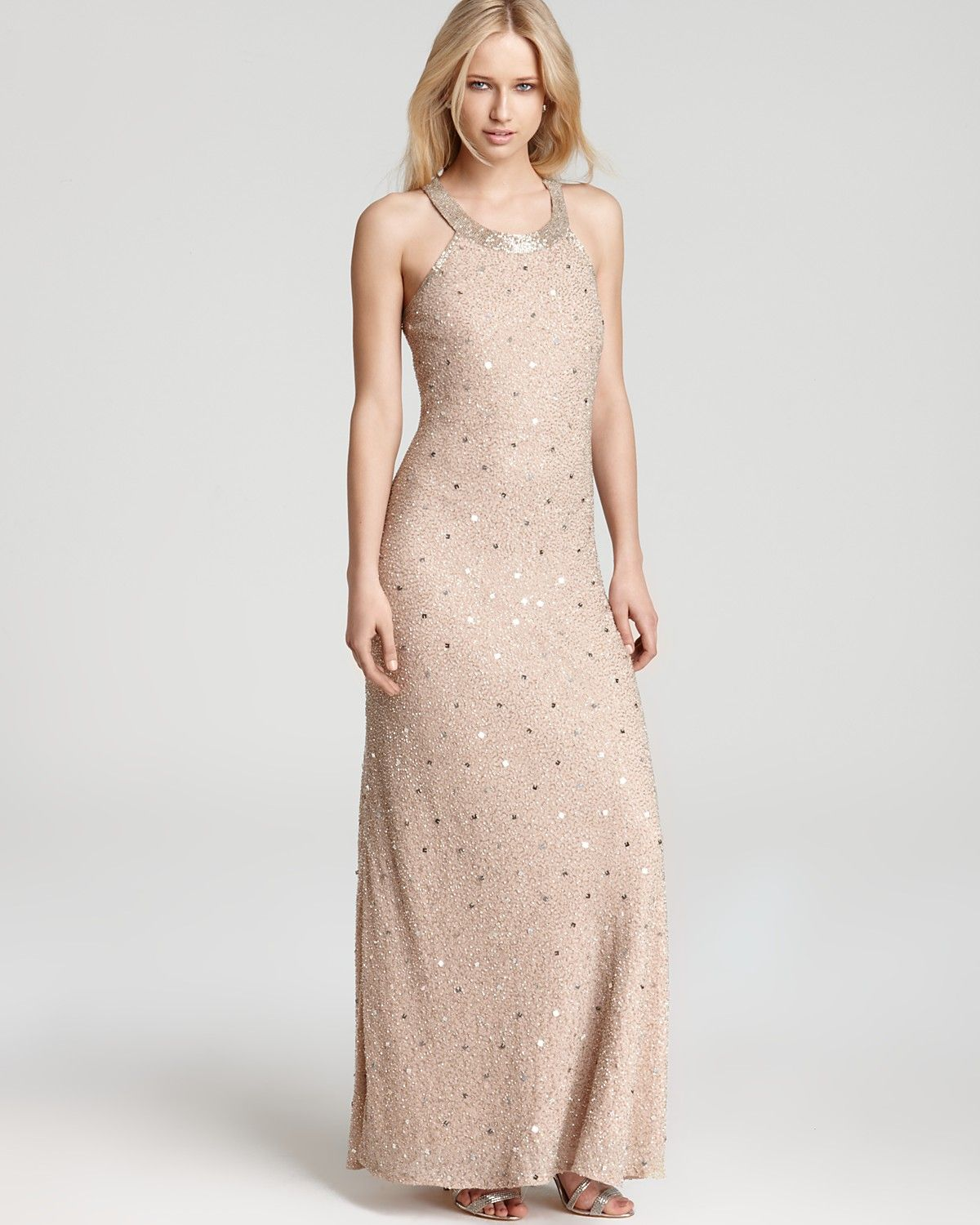 Adrianna Papell Beaded Gown - High Neck | Bloomingdale's