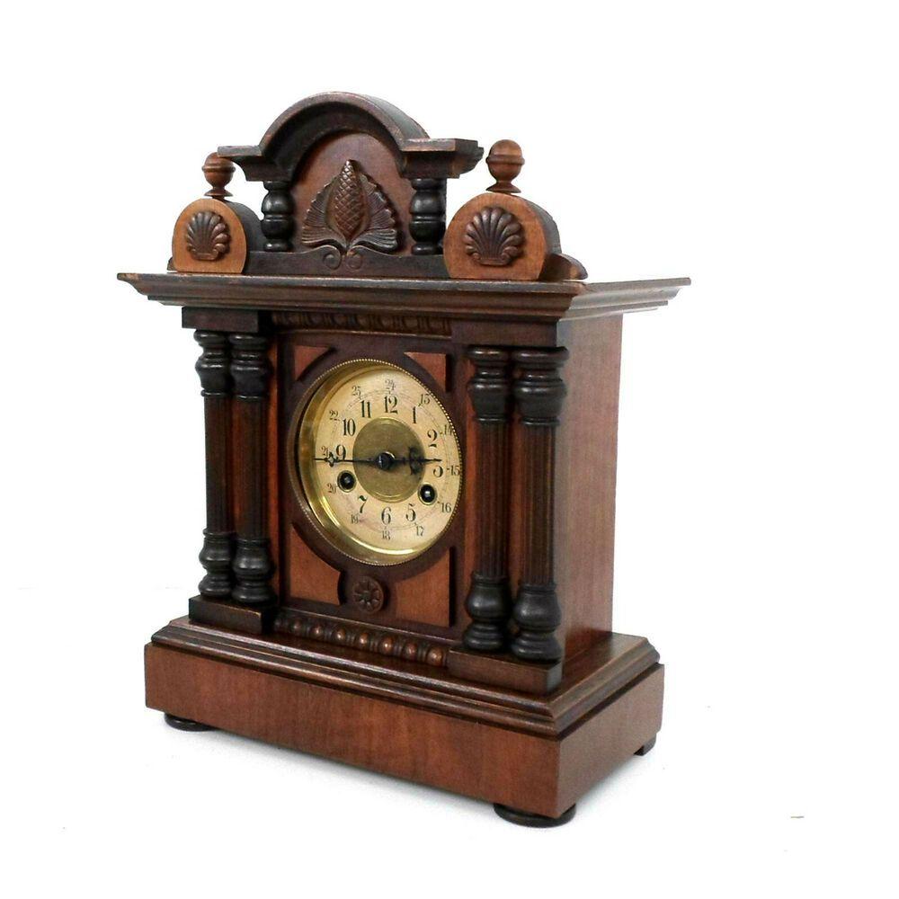 Antik Kaminuhr Tischuhr Mit Schlagwerk Im Holzgehause Mechanische
