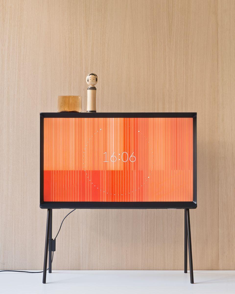 ronan + erwan bouroullec reinterpret samsung's serif TV as a piece of furniture