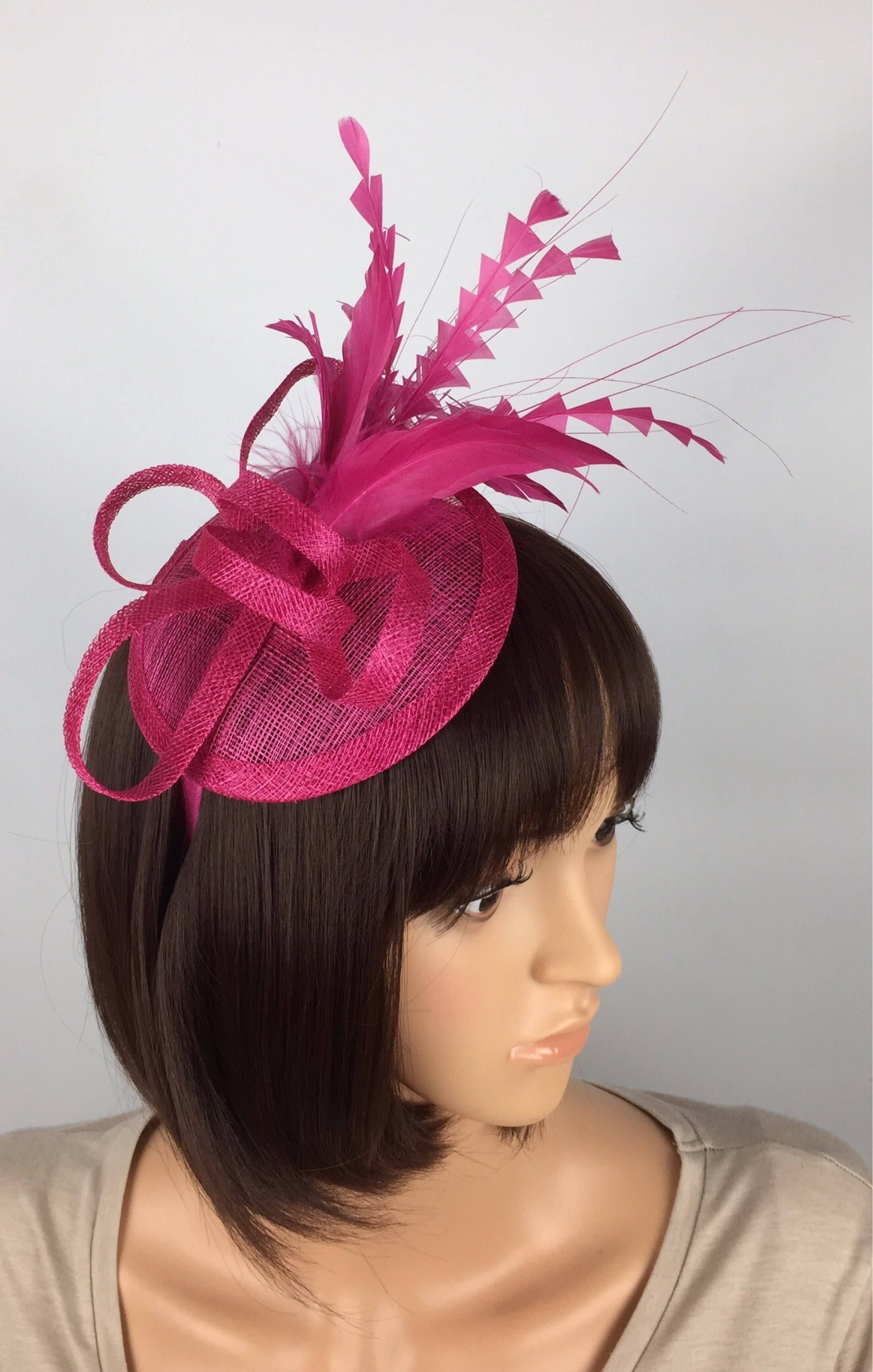 Etsy Shop Fuchsia Pink Fascinator Flower Fascinator With Feathers
