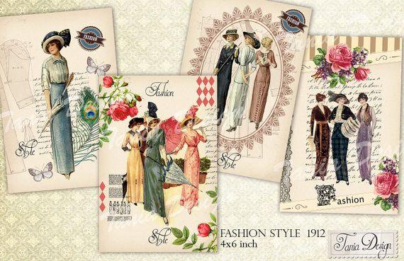 Fashion style 1912 s  digital collage sheet  set o от TaniaDesign, $4.10