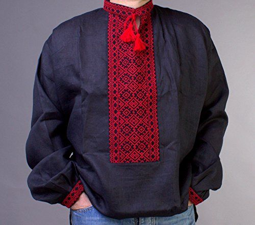 New handmade embroidered black red mens linen shirt ukrai https ideas negle Images