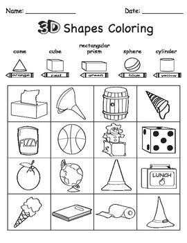 Worksheet Kindergarten 3d Shape Sorting: 3d shape sort color draw math pinterest 3d shapes 3d and shapes,