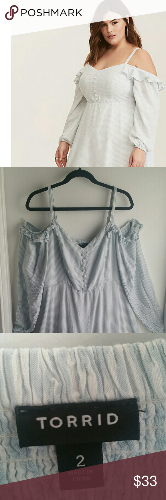 aa75e9ab6ce Blue and white stripe cold shoulder challis dress The perfect dress for  summer! Long airy