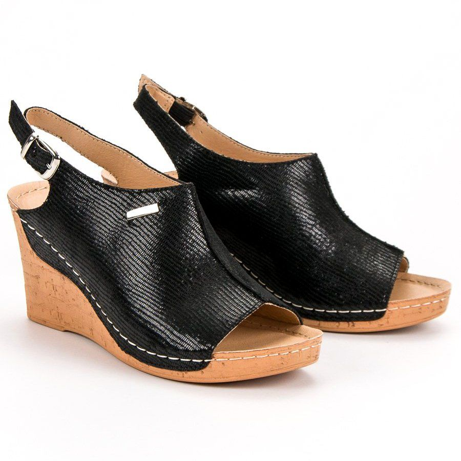 Filippo Lekkie Sandaly Na Koturnie Czarne Womens Sandals Comfortable Wedges Sandals Plastic Heels