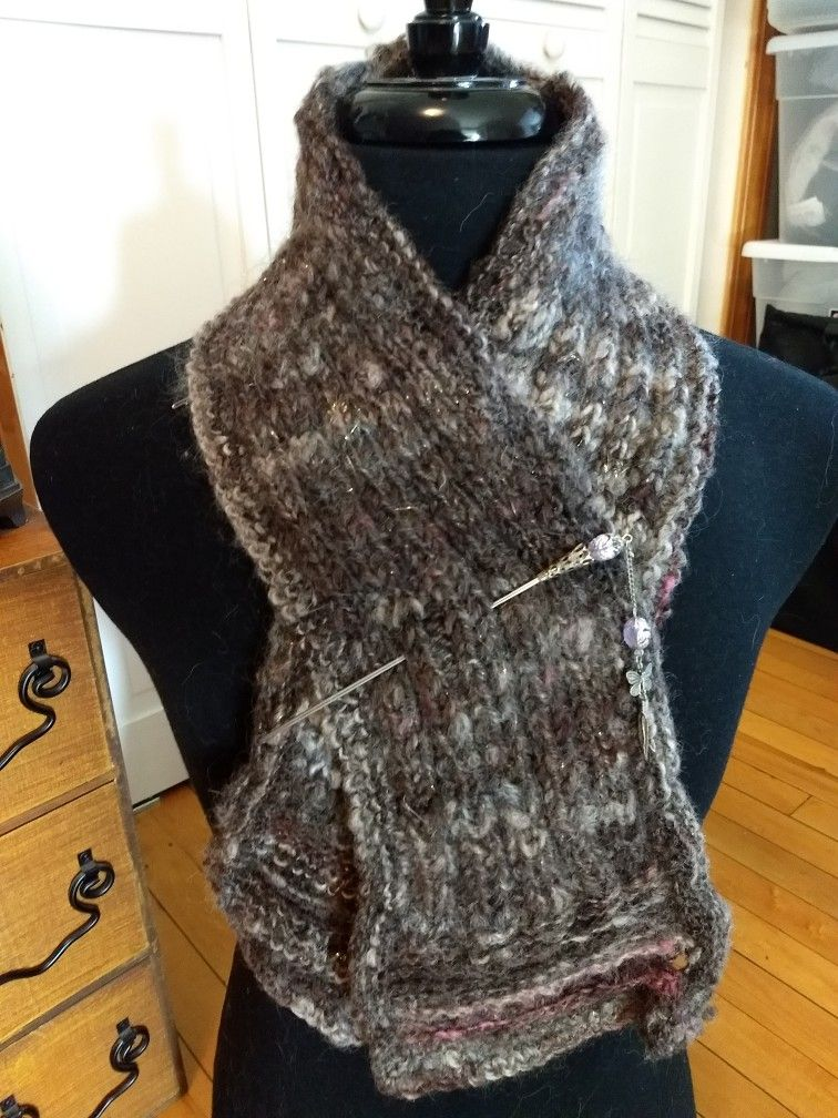 A very nice handspun, hand-knit scarflette I knit up with Coopworth wool, Lincoln locks and a hint of gold sparkle. I love to take a project from fleece to finished knitwear!
