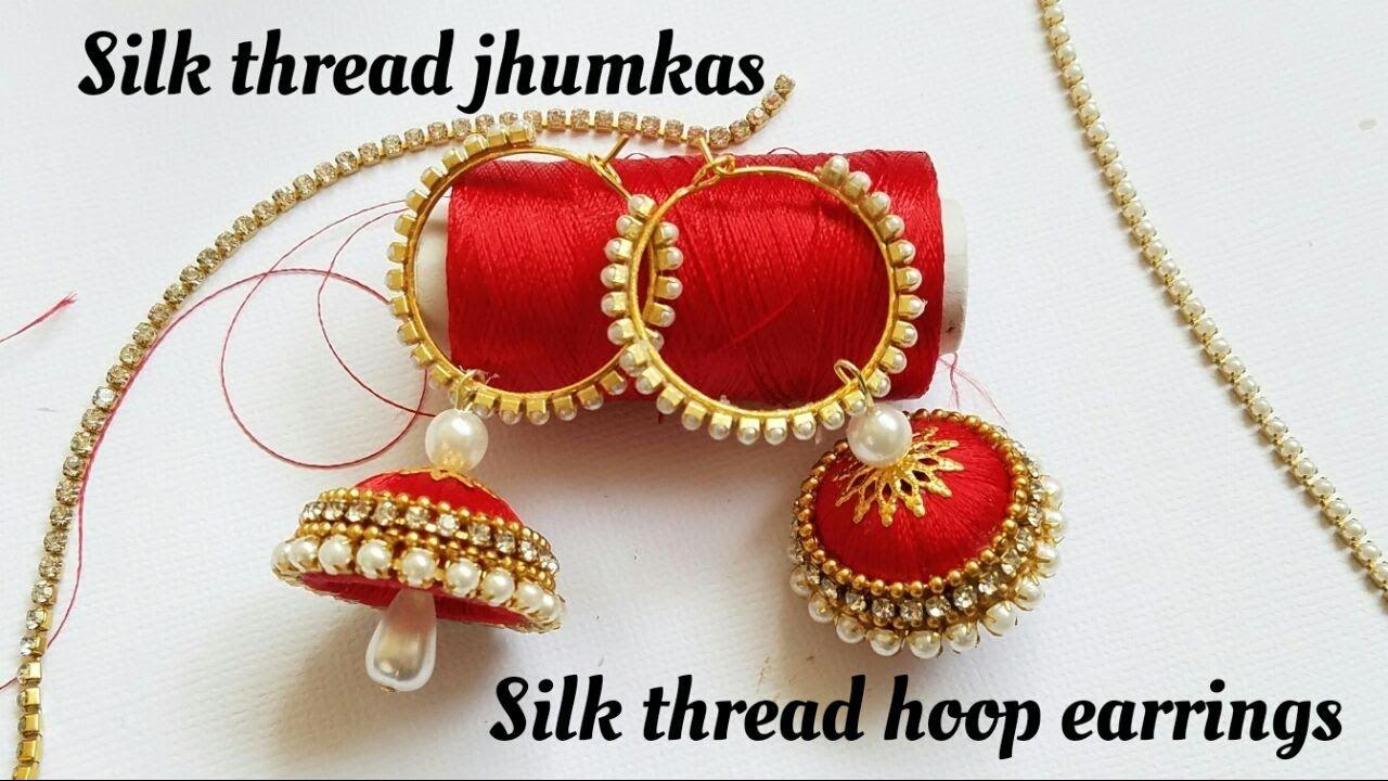 10dd58e4a How To Make Silk Thread Jhumkas Hoop Style Ring style silk Thread Jhumkas -  YouTube