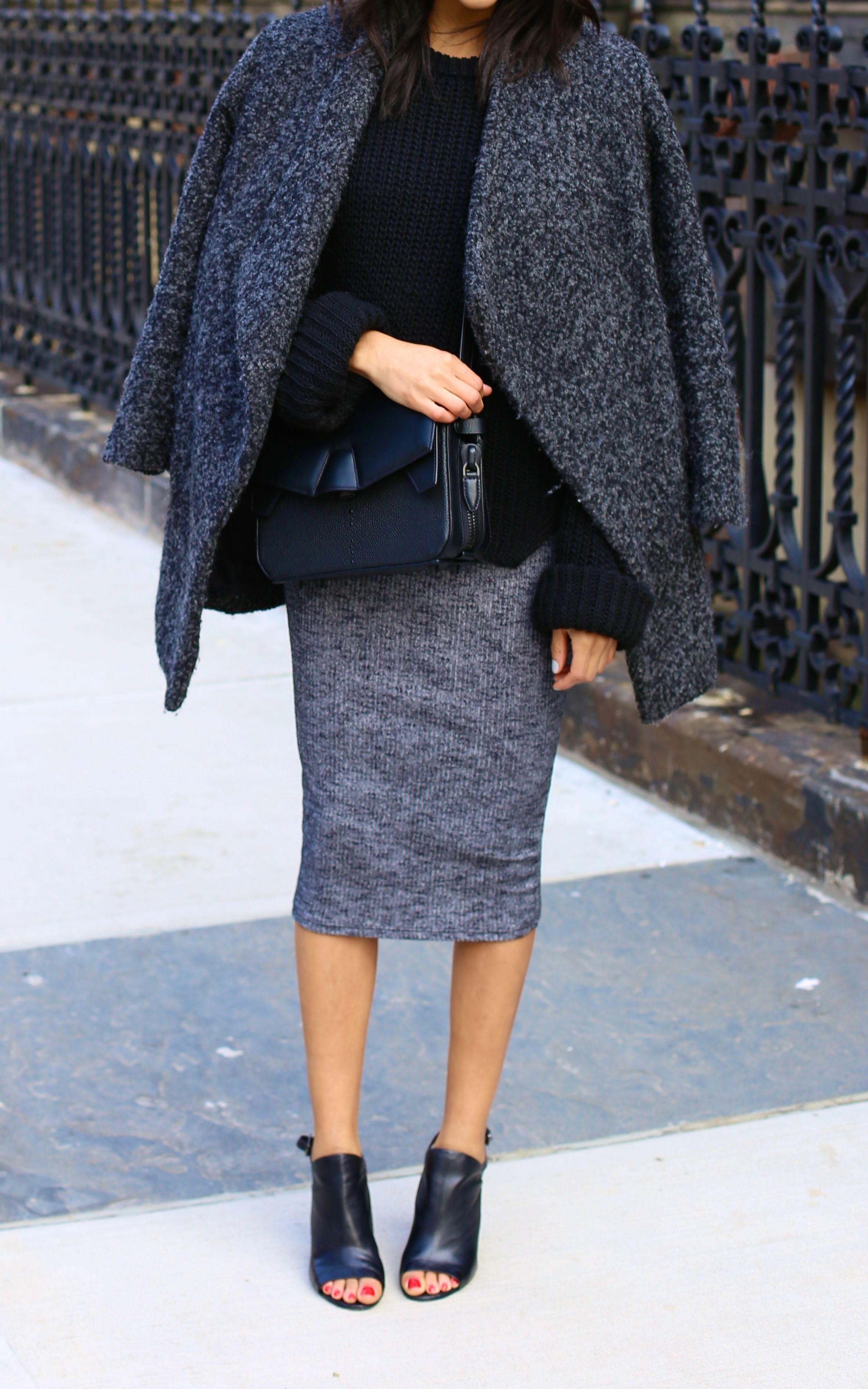 Grey, pencil, coat, black, Open toe boots.