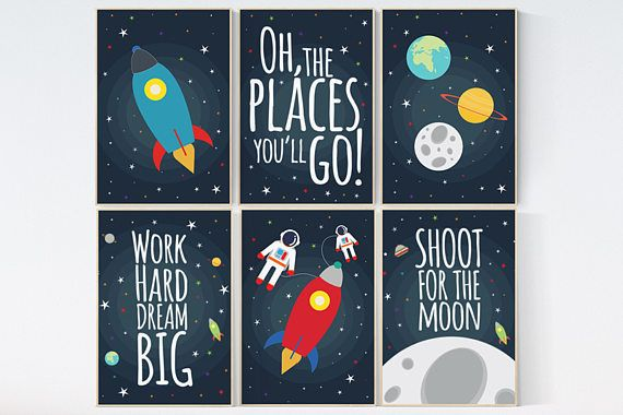 Space nursery decor, baby boy nursery oh the places you'll go, outer space nursery, space print, Space themed nursery, nursery prints, boy