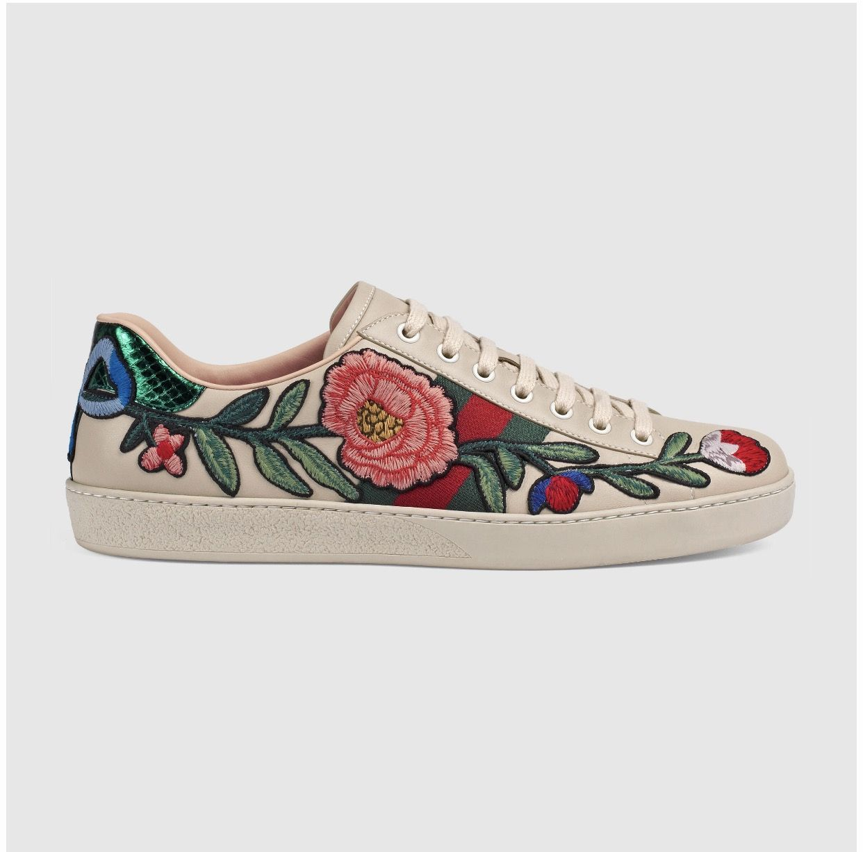 41ae2e97af9 Gucci - Ace Embroidered Low-Top Sneaker With Flowers