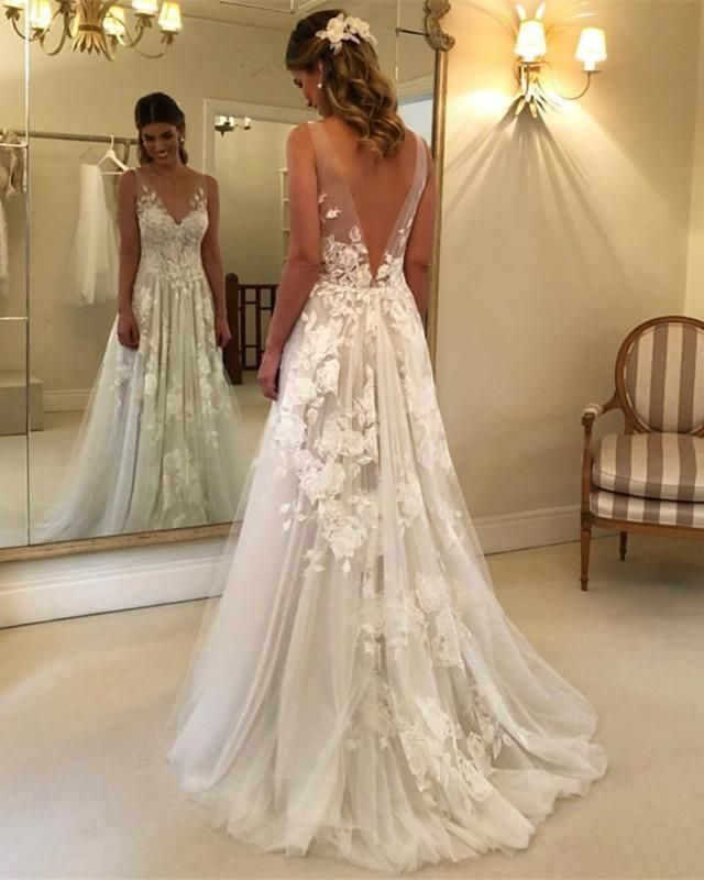 Princess Style A-line V-neck Tulle Floor Length Wedding