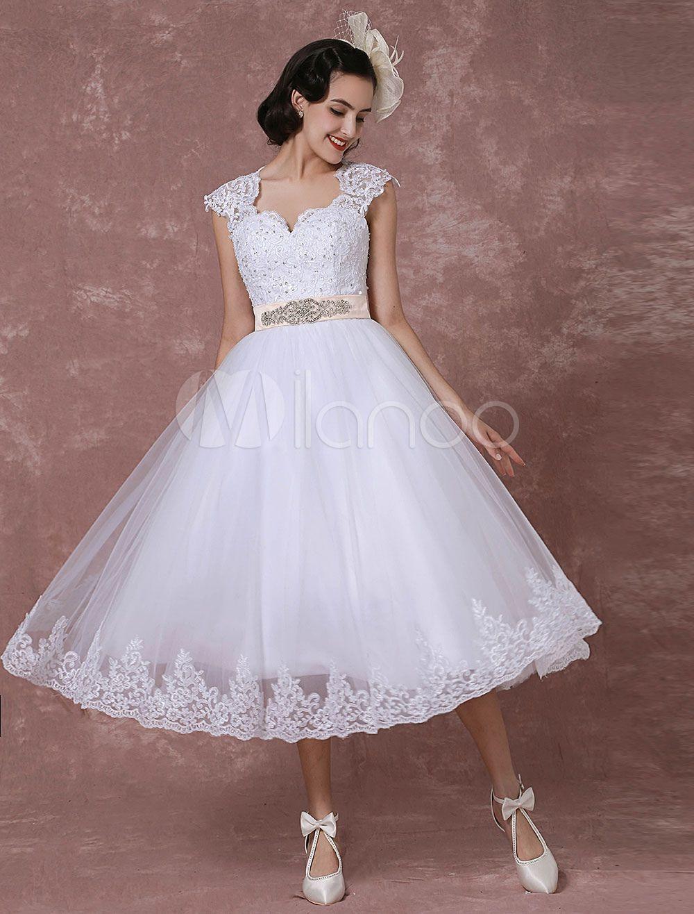 Vintage Brautkleid kurz Hochzeitskleid mit Spitze T ll