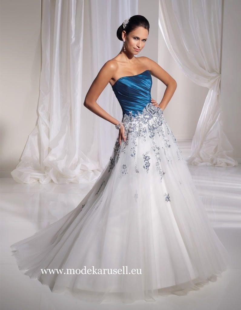 Brautkleid 14 in Weiß Blau oder nach Wunsch www.modekarusell.eu