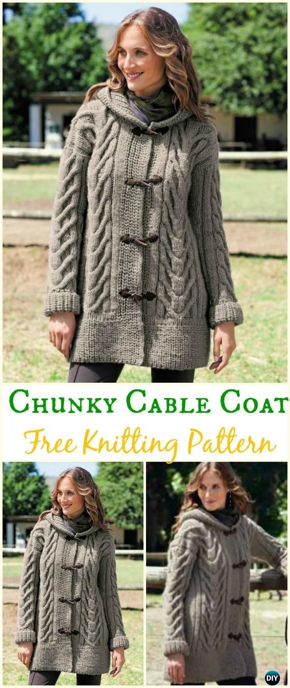 Women\'s Chunky Cabled Coat Sweater Free Knitting Pattern - Knit ...