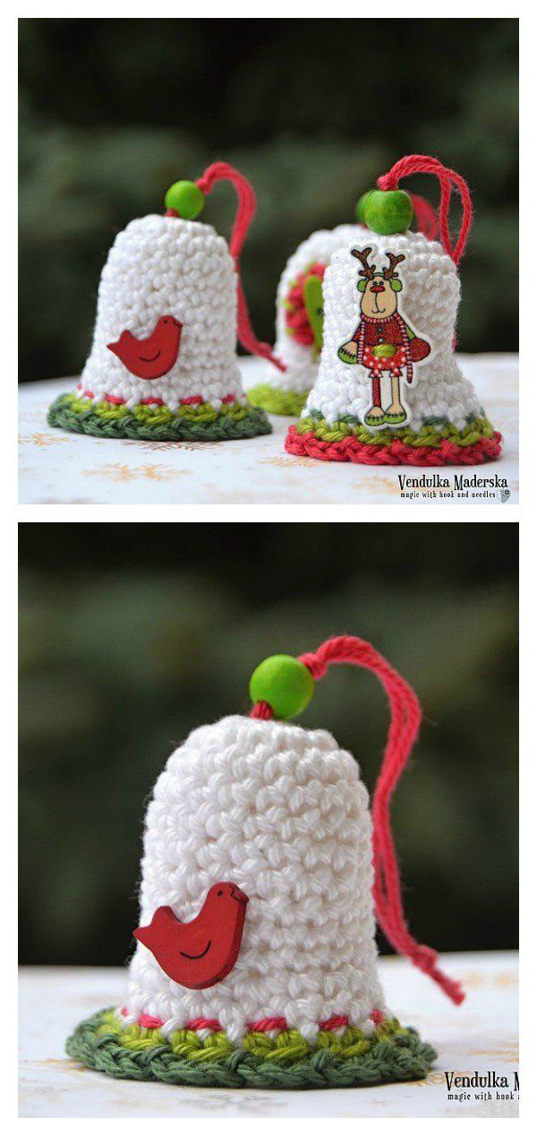 Free Christmas Bell Ornament Crochet Patterns | Campanas de navidad ...