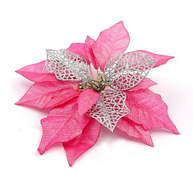 Artificial Pink Christmas Flower Decoration – USD $ 2.99