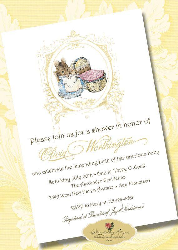 PETER RABBIT BABY Shower Invitation Hunca Munca Printable Digital Download  Announcement Custom Personalized DiY 1011