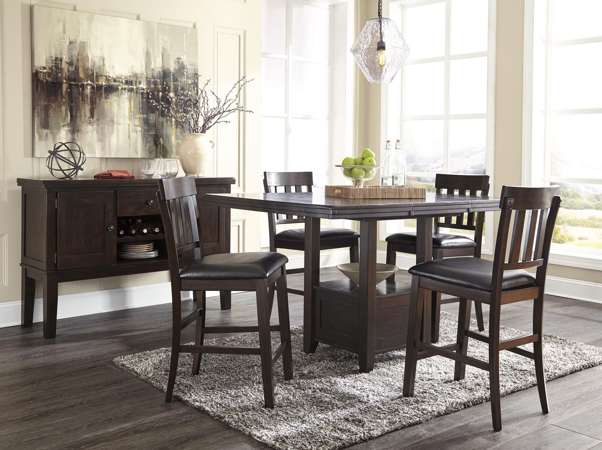 Haddigan Rectangular Counter Height Dining Table In Brown Ashley Home Gallery St Brown Dining Room Round Dining Room Sets Counter Height Dining Room Tables