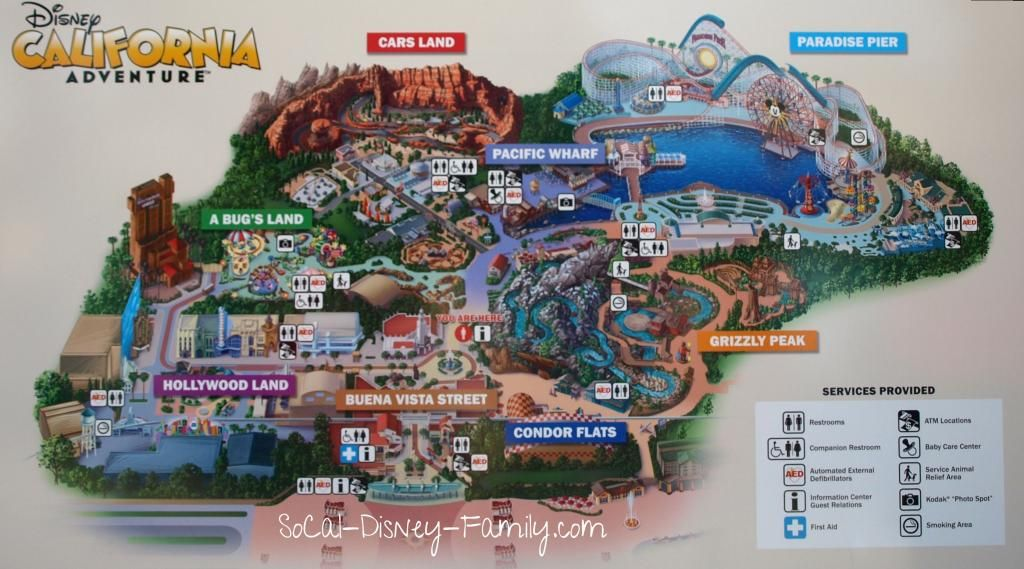 Map Of California Adventure Park Disney California