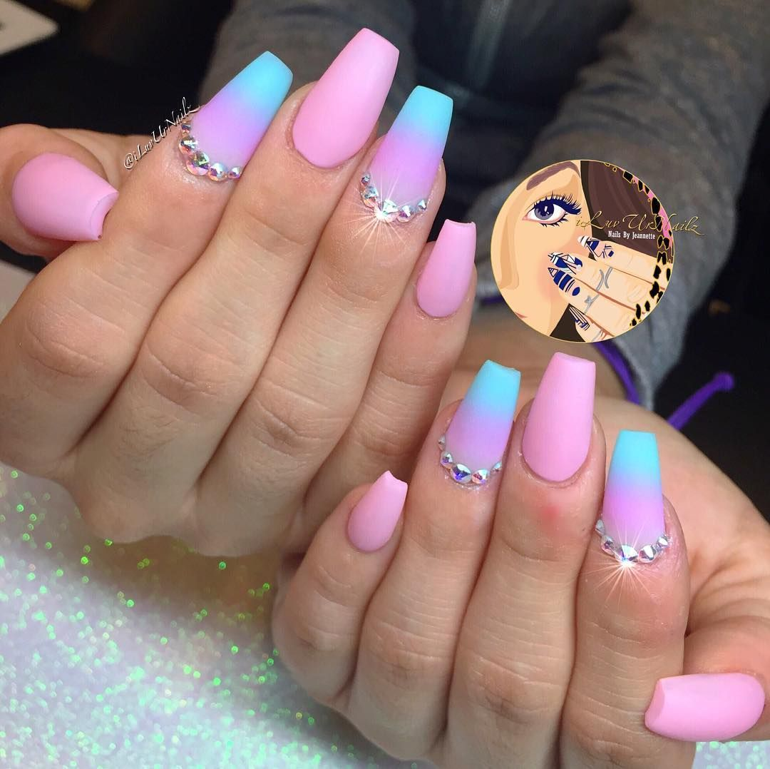 Baby pink ombre nails with Swarovski crystals by @iluvurnailz. These ...