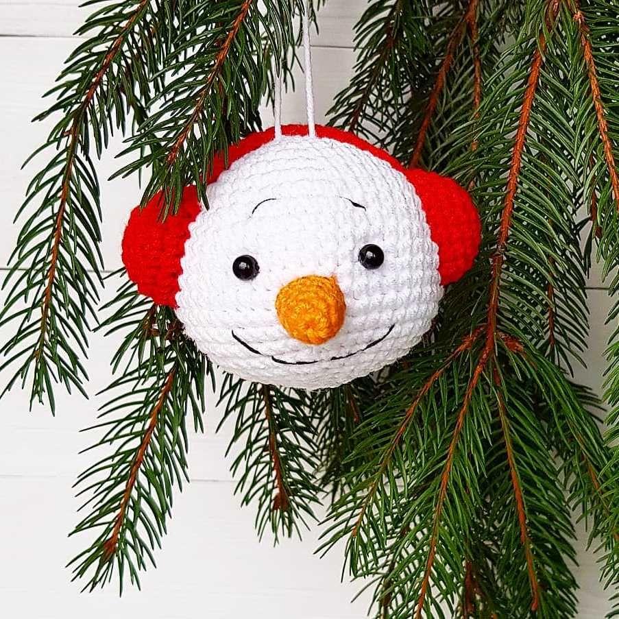 Weihnachtsschmuck häkeln Schneemann #christmasornaments