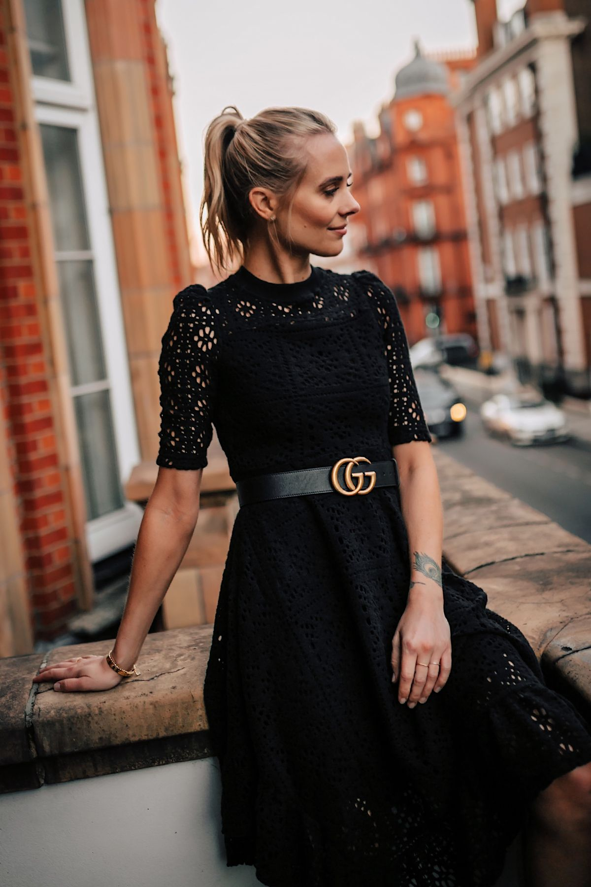 Blonde Women Wearing Black Lace Dress With Gucci Belt On London Balcony Black Lace Dress Outfit Winter Dress Outfits Fashion [ 1800 x 1200 Pixel ]