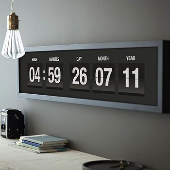 Personalised Vintage Flip Clock Print Clocks, Flip clock and - dekoration für wohnzimmer