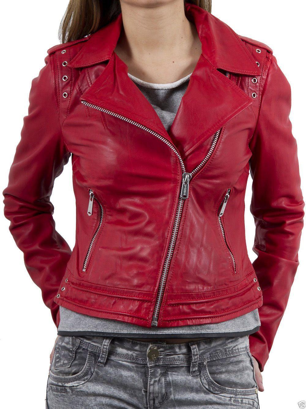 Women'S Genuine Lambskin Motorcycle Real Leather Slim Fit