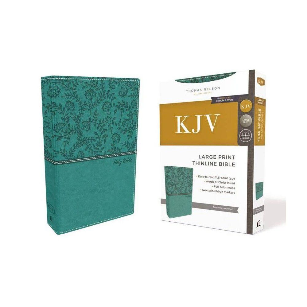 Kjv Thinline Bible Large Print Leathersoft Green Red Letter