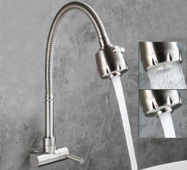 SUS304 Stainless Steel Kitchen Sink Mixer Tap Monobloc Single Lever