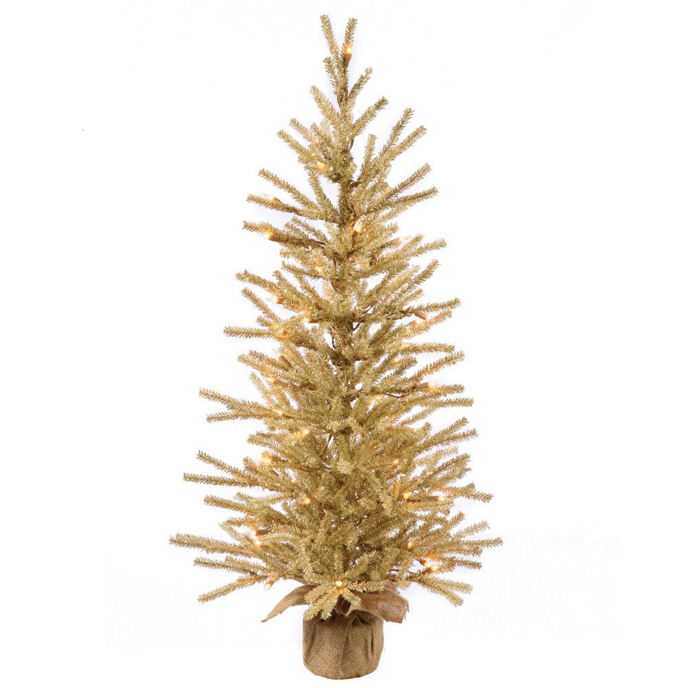4' Pre-Lit Gold Artificial Christmas Tinsel Twig Tree in Burlap Base - Clear Lights