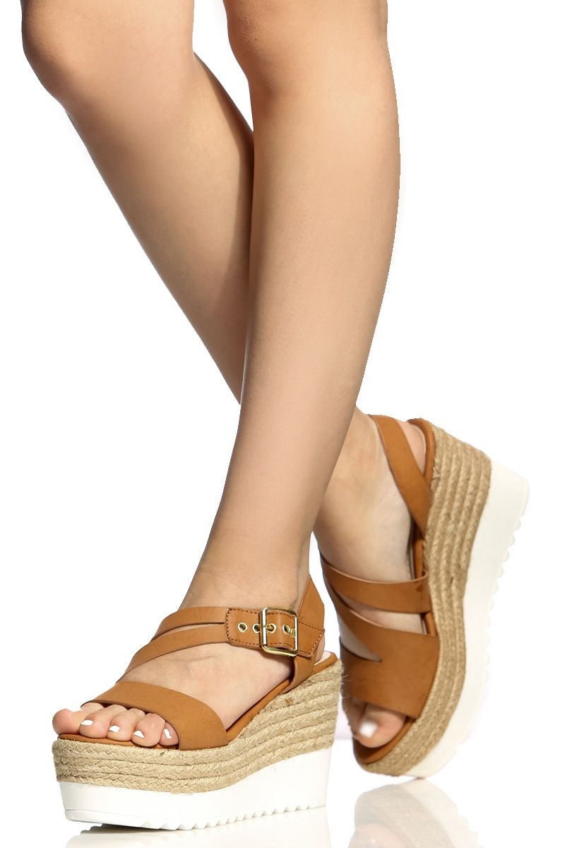 Cross Strap Espadrille Flatform Wedges
