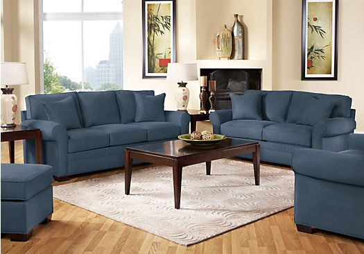 picture of Cindy Crawford Home Bellingham Indigo 2 Pc Living Room