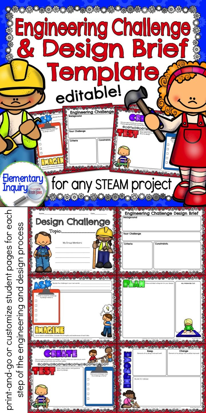 STEM Challenge Design Brief Template and Student Pages