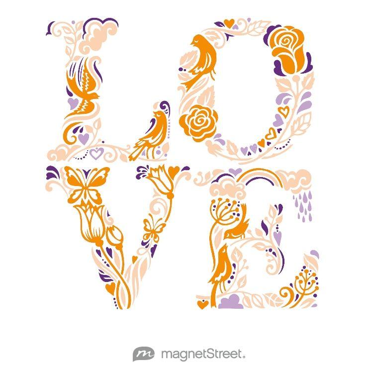 Tangerine, Peach, Lilac, and Plum Wedding Color Palette - free custom artwork created at MagnetStreet.com