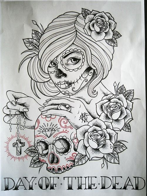 rose tattoos with skull | day of the dead skull tattoo skull rose skull rose…