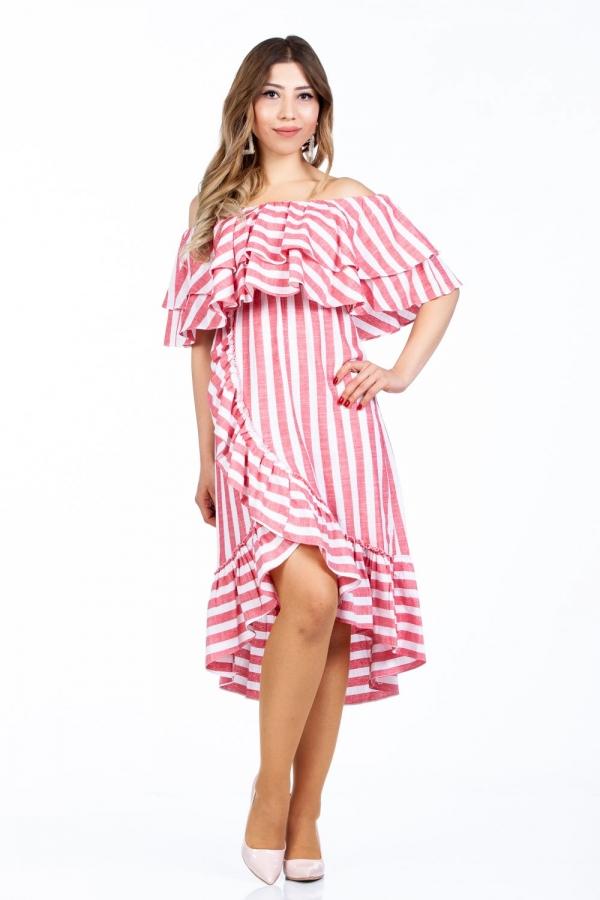 Omuzlari Firfirli Pembe Beyaz Cizgili Elbise 201862232 Kapida Odemeli Ucuz Bayan Giyim Online Alisveris Sitesi Modivera Com Cizgili Elbise Elbiseler Elbise
