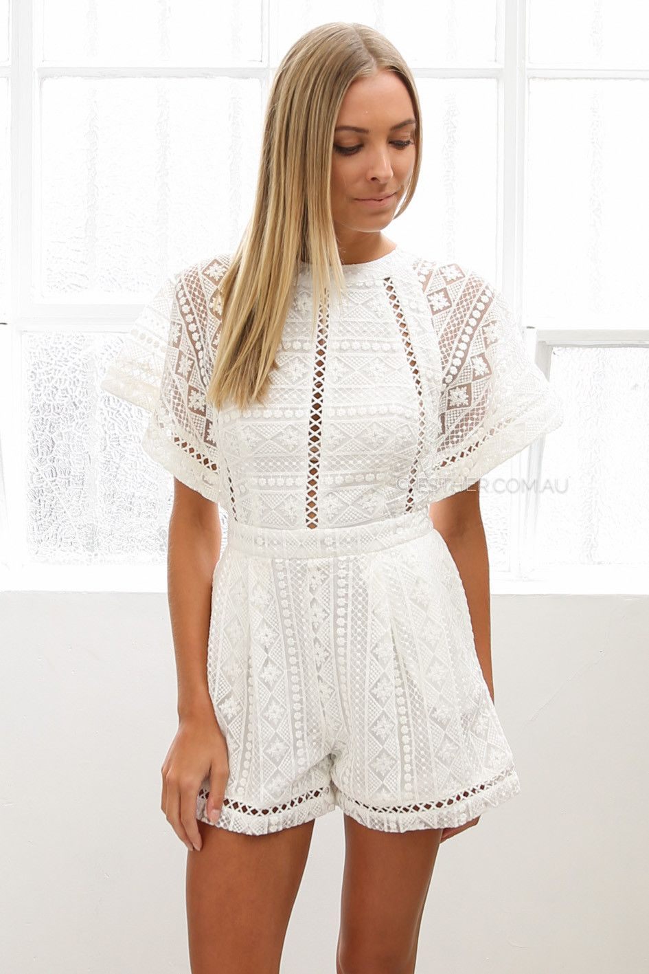 4d1b5cdd zara lace playsuit - ivory | Esther Boutique | My Style | Lace ...