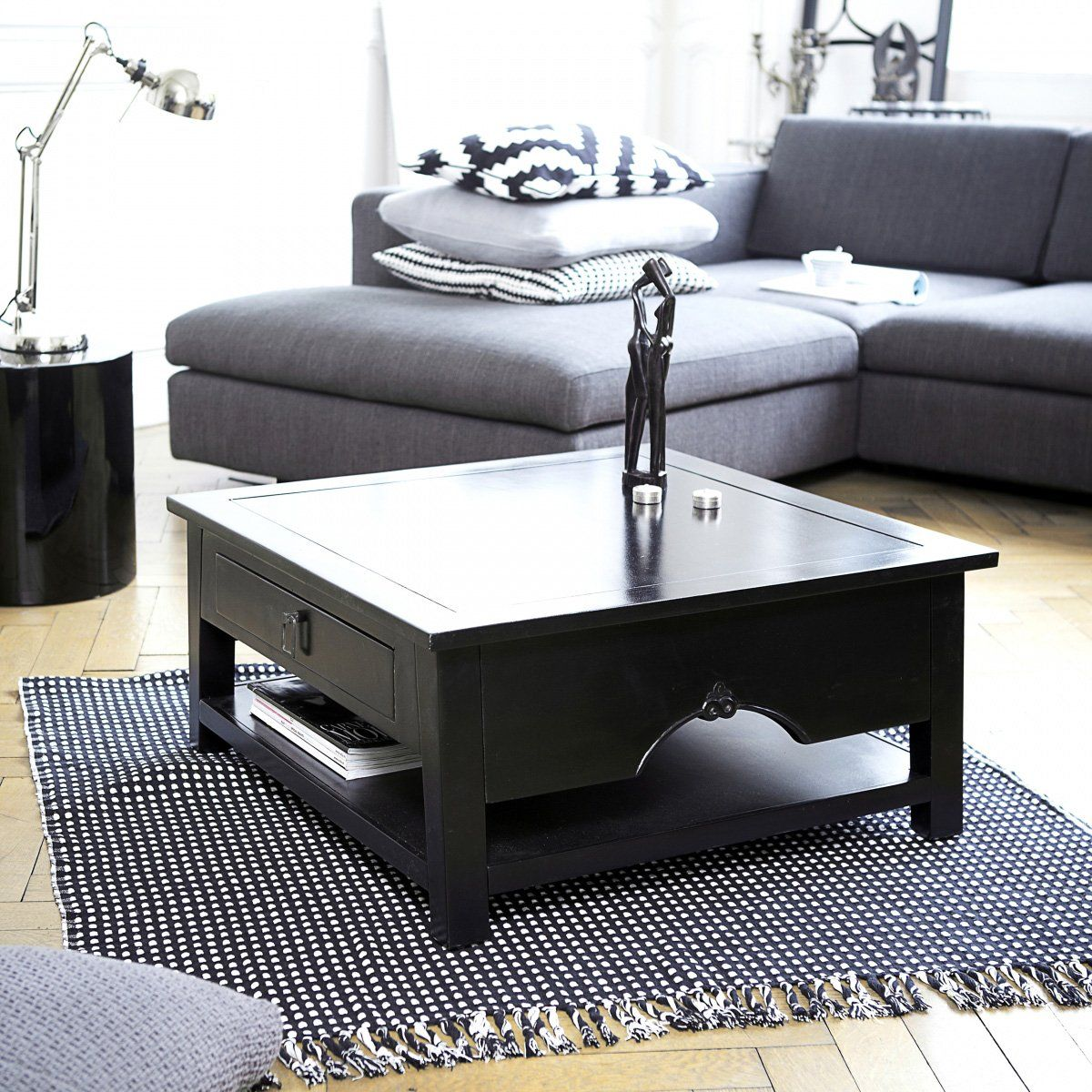 Table Basse En Acajou Noir 75x75 Thaki Black Table Basse Meubles En Acajou Table Basse Teck