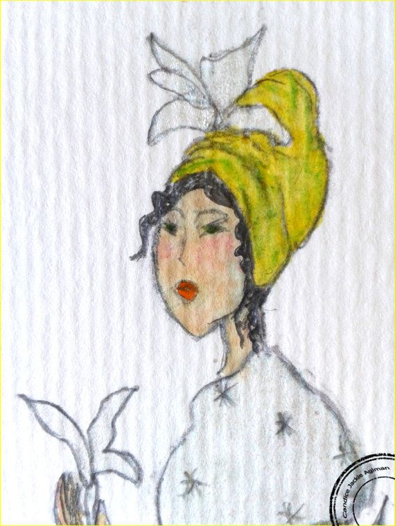 Aquarelle Sur Papier Princesse Citron Pailletee Et Nacree